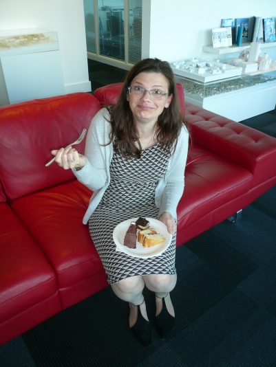 Our organiser, Steph, enjoying some of our best baking!